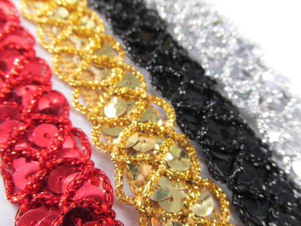 Red, Black, Silver or Gold Criss Cross 3/4 inch Wide Scallloped Sequined Trim - Odyssey Cache