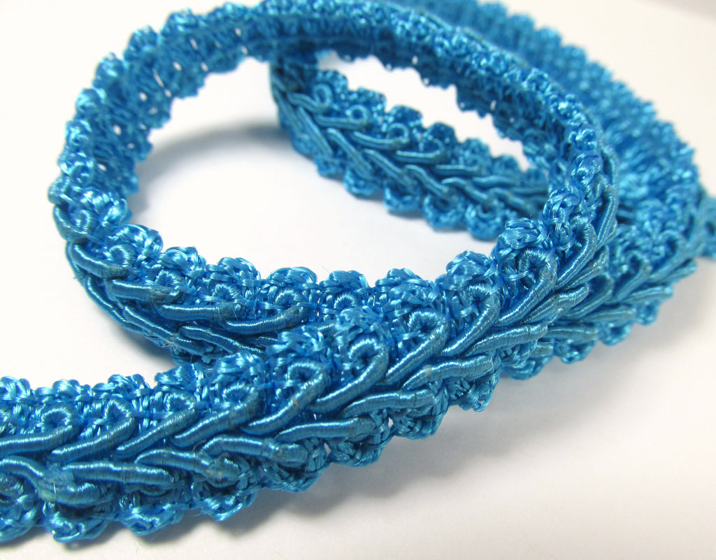 Remnant Piece - 1 1/2 yards of 1/2 Inch Flat Scroll Turquoise Gimp Trim on Closeout Sale-Trims-Odyssey Cache