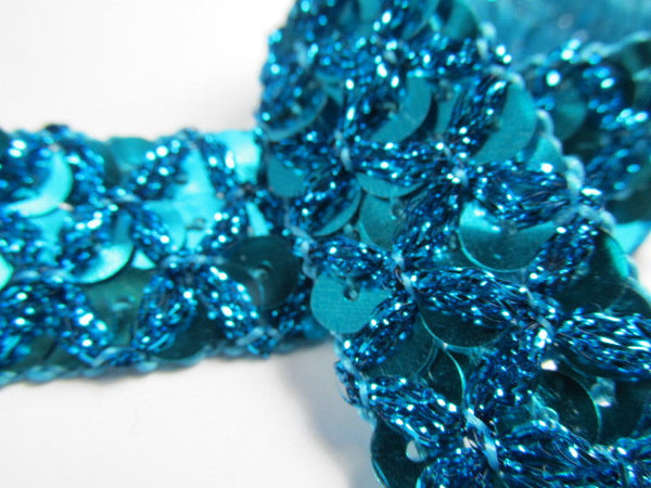 Crisscross 20mm Sequined Trim in Navy Blue, Turquoise or Chocolate Brown-Trims-Teal-Odyssey Cache