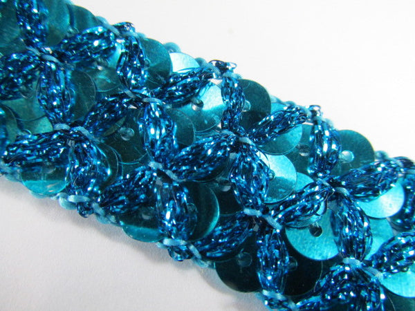 Crisscross 20mm Sequined Trim in Navy Blue, Turquoise or Chocolate Brown-Trims-Odyssey Cache