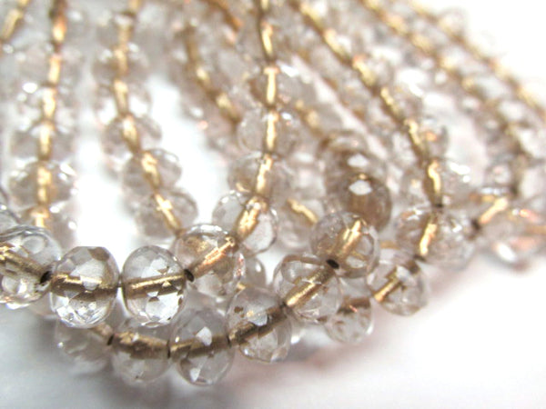 Gold Lined Clear Czech Glass 7mm x 5mm Faceted Rondelle Jewelry Beads (12) - Odyssey Cache