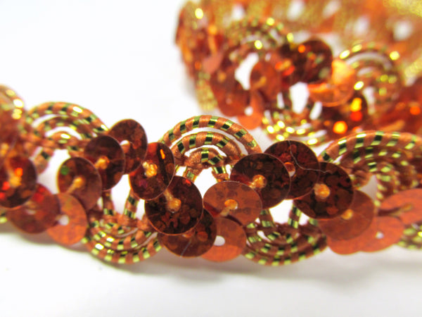 Metallic Thread Accent 5/8 Inch Zig Zag Holographic Sequined Trim-Trims-Orange Gold-Odyssey Cache