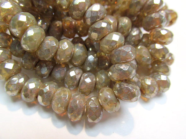 Champagne Beige Mercury Finish Czech Glass Roller 9mm x 6mm Faceted Rondelle Jewelry Beads (10)-Jewelry Beads-Odyssey Cache