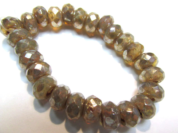 Champagne Beige Mercury Finish Czech Glass Roller 9mm x 6mm Faceted Rondelle Jewelry Beads (10) - Odyssey Cache