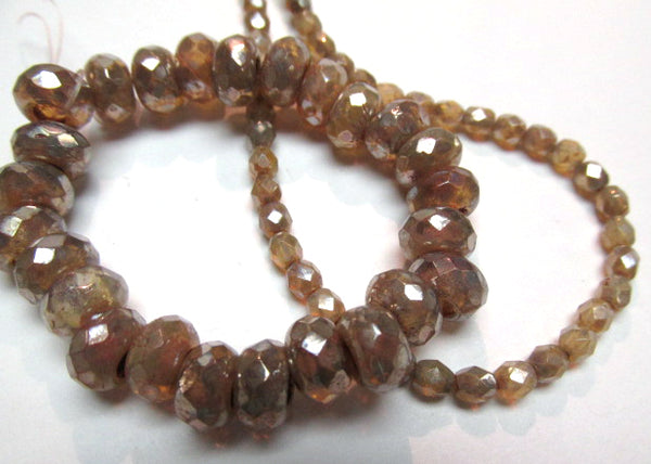Champagne Beige with Silver Finish Czech Glass faceted 4mm fire polished jewelry beads (50)-Jewelry Beads-Odyssey Cache
