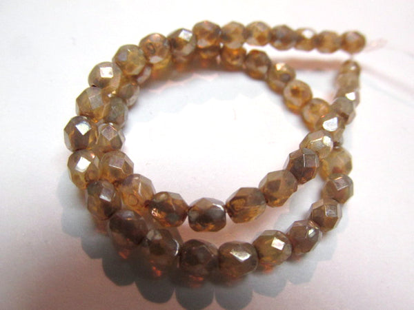 Champagne Beige with Silver Finish Czech Glass faceted 4mm fire polished jewelry beads (50) - Odyssey Cache