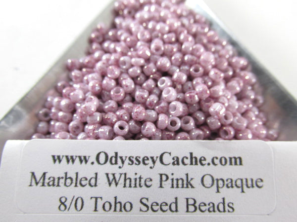 White Pink Opaque 8.0 Toho Czech Glass Seed Beads (10 grams) - Odyssey Cache