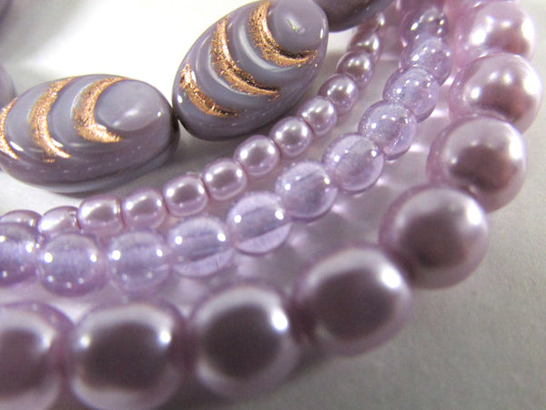 Lavender Plum and Rose Gold Czech Glass 13mm x 8mm Carved Cocoon Flat Oval Beads (6)-Jewelry Beads-Odyssey Cache