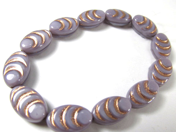 Lavender Plum and Rose Gold Czech Glass 13mm x 8mm Carved Cocoon Flat Oval Beads (6) - Odyssey Cache
