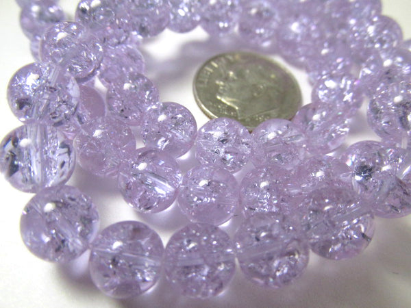 Alexandrite Color Changing Lavender and Light Blue 8mm Crackle Glass Round Jewelry Beads-Jewelry Beads-Odyssey Cache