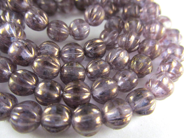 Lavender Golden Luster Czech Glass 6mm Melon Jewelry Beads (25) - Odyssey Cache