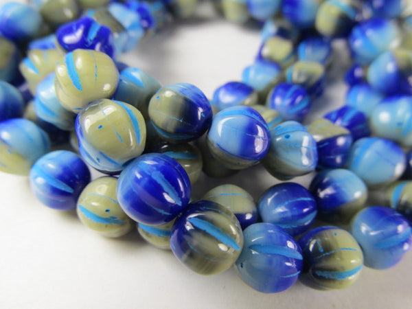 Blue Turquoise Beige Mix 6mm Czech Glass Melon Jewelry Beads (25) - Odyssey Cache