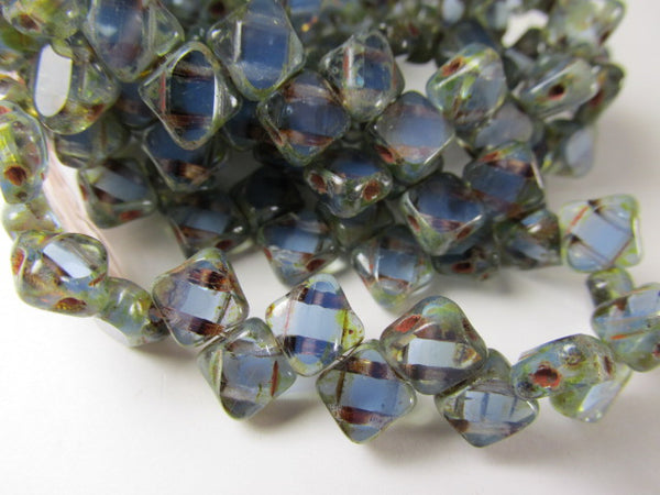 Cornflower Blue Picasso Czech glass 2-Hole 6mm Silky Beads (25)-Jewelry Beads-Odyssey Cache