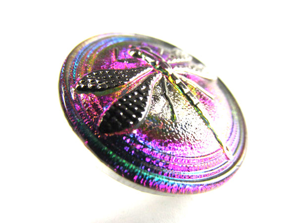 Dragonfly Czech Glass 23mm Emerald Fuchsia and Silver Button - Odyssey Cache