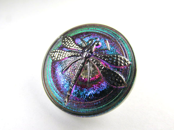 Dragonfly Czech Glass 23mm Emerald Fuchsia and Silver Button-Jewelry Beads-Odyssey Cache