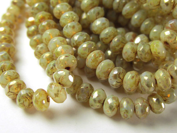 Champagne Beige Czech Glass faceted 5mm x 3mm rondelles (30)-Jewelry Beads-Odyssey Cache