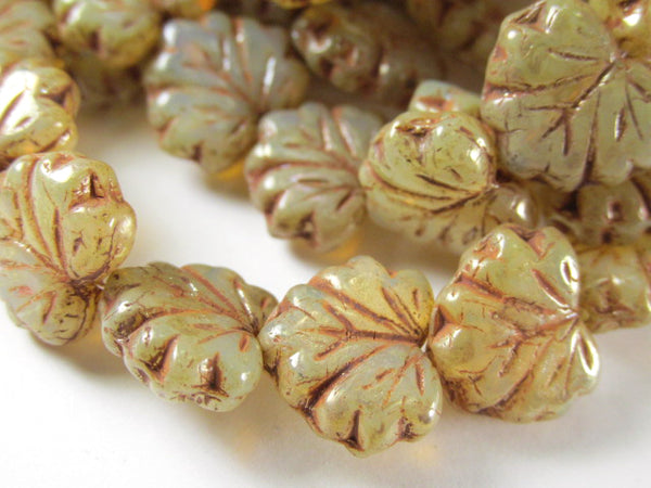 Champagne Czech Glass 13mm x 10mm Maple Leaf Jewelry Beads (10) - Odyssey Cache