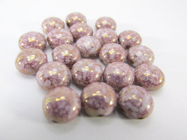 Pink Picasso Alabaster 2 Hole 8mm Cabochon Candy Beads (20) - Odyssey Cache