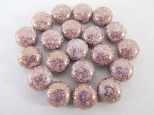 Pink Picasso Alabaster 2 Hole 8mm Cabochon Candy Beads (20) - Odyssey Cache - 1