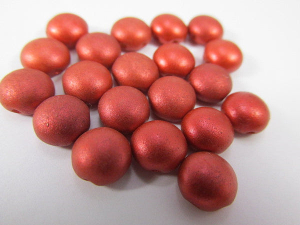 Copper Red Silk 2 Hole 8mm Cabochon Candy Beads (20)-Jewelry Beads-Odyssey Cache