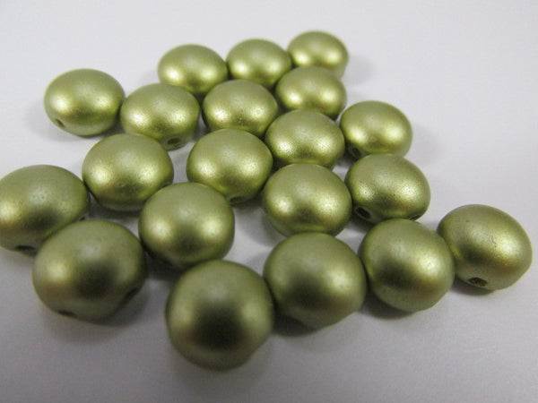 Olive Green Pastel Pearl 2 Hole 8mm Cabochon Candy Beads (20) - Odyssey Cache