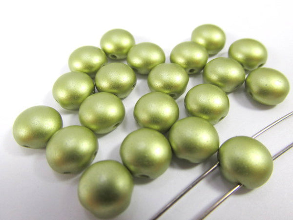 Olive Green Pastel Pearl 2 Hole 8mm Cabochon Candy Beads (20)-Jewelry Beads-Odyssey Cache