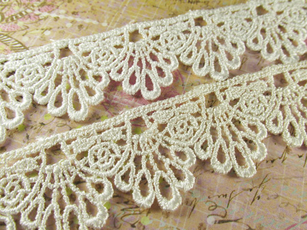 Ivory or White 30mm Scalloped Venise Lace Trim - Odyssey Cache