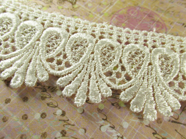 Ivory, White or Black 1.75 inch Loop De Loop Scalloped Lace Fringed Trim-Trims-Ivory-Odyssey Cache