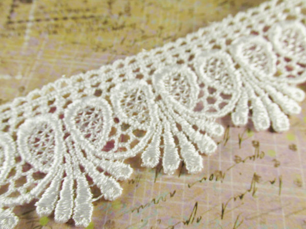 White 1.75 inch Loop De Loop Scalloped Venise Lace Fringed Trim - Odyssey Cache