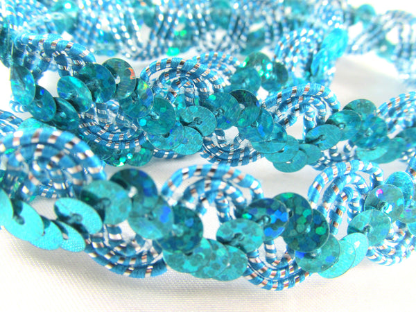 Metallic Thread Accent 5/8 Inch Zig Zag Holographic Sequined Trim-Trims-Aqua Gold-Odyssey Cache