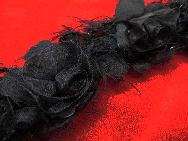 Black Ruffled Rose Stretch Craft or Costume Flower Trim-Trims-18 flowers (1 yard)-Odyssey Cache
