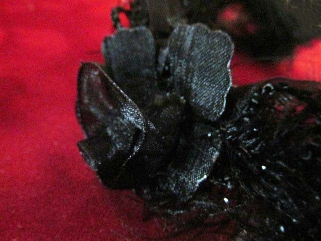 Black Ruffled Rose Stretch Craft or Costume Flower Trim-Trims-1 flower-Odyssey Cache