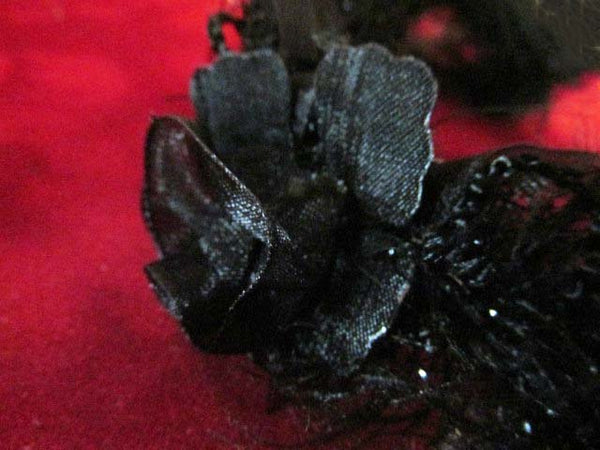 Black Ruffled Rose Stretch Craft or Costume Flower Trim - Odyssey Cache