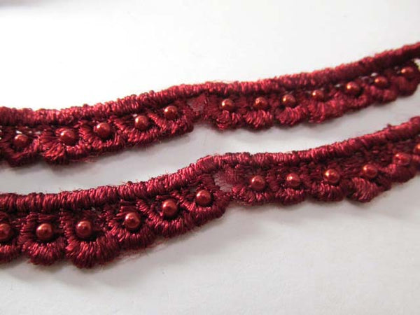 Burgundy Pearl 3/4 inch Scalloped Venise Lace Trim or Appliques - Odyssey Cache