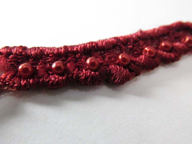 Burgundy Pearl 3/4 inch Scalloped Venise Lace Trim or Appliques-Trims-Odyssey Cache