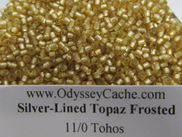 Silver Lined Topaz Frosted size 11/0 Toho Glass Seed Beads (10 grams) - Odyssey Cache