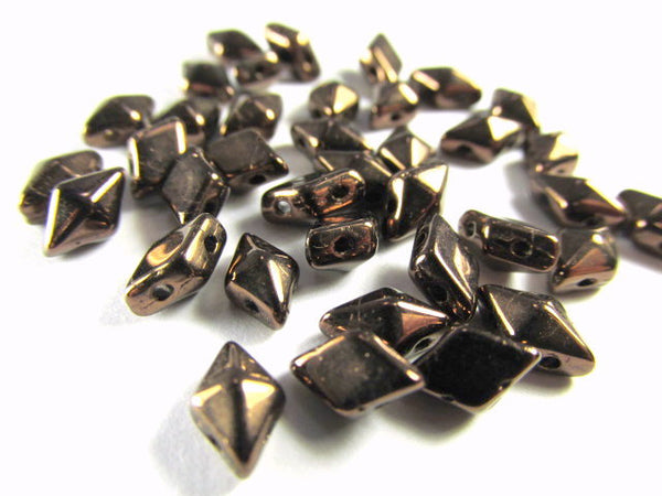 Dark Bronze 8mm x 5mm Czech 2 Hole DiamonDuo Beads (25) - Odyssey Cache