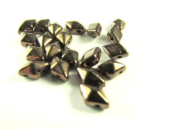 Dark Bronze 8mm x 5mm Czech 2 Hole DiamonDuo Beads (25)-Jewelry Beads-Odyssey Cache