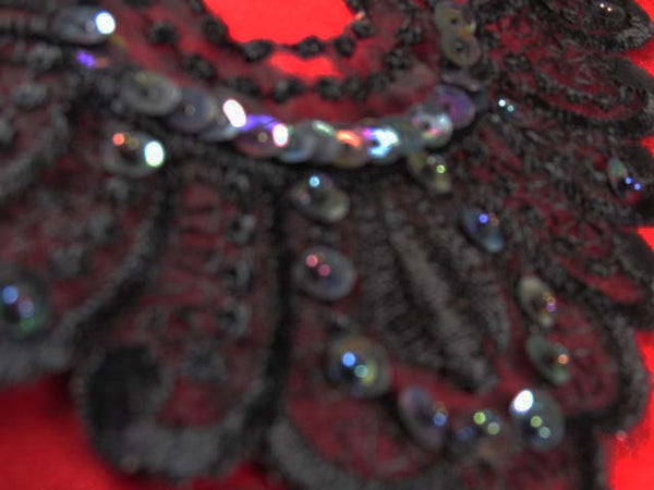 Black, Black AB or Ivory AB Lace Yoke or 6 inch Applique - Odyssey Cache
