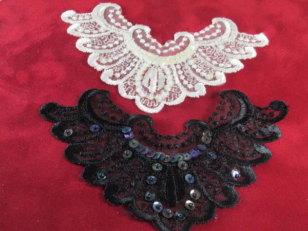 Black, Black AB or Ivory AB Lace Yoke or 6 inch Applique-Appliques-Odyssey Cache