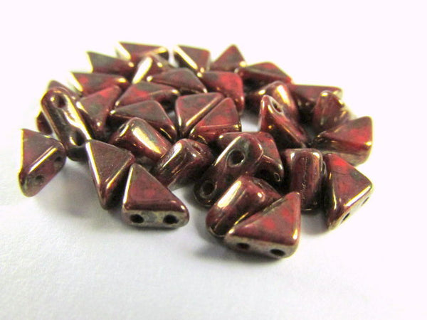 Coral Bronze 2 Hole Czech Glass Tango Beads (25)-Jewelry Beads-Default Title-Odyssey Cache