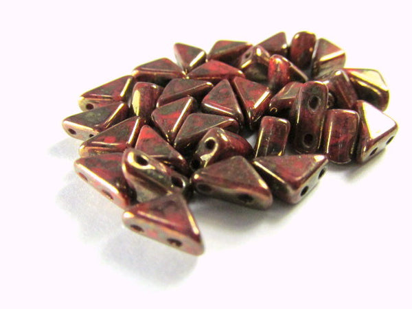 Coral Bronze 2 Hole Czech Glass Tango Beads (25) - Odyssey Cache