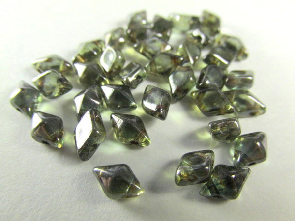 Lumi Green Czech 2 Hole DiamonDuo Beads (25) - Odyssey Cache