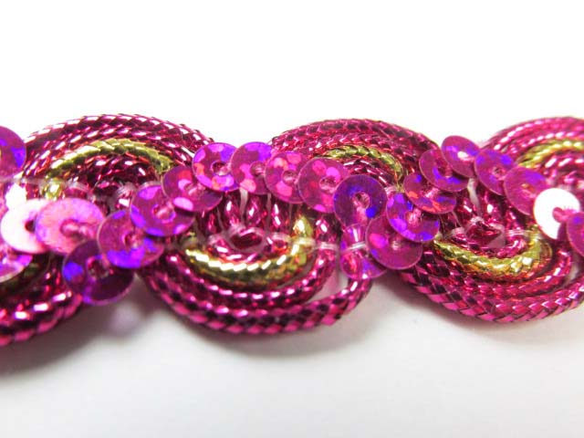 Fuchsia Pink, Purple, Royal Blue, Green, Red and Metallic Gold 5/8 inch Wavy Sequined Trim-Trims-Fuchsia Pink/Gold-Odyssey Cache