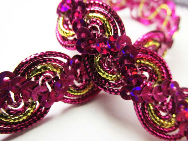 Fuchsia Pink, Purple, Royal Blue, Green, Red and Metallic Gold 5/8 inch Wavy Sequined Trim-Trims-Odyssey Cache