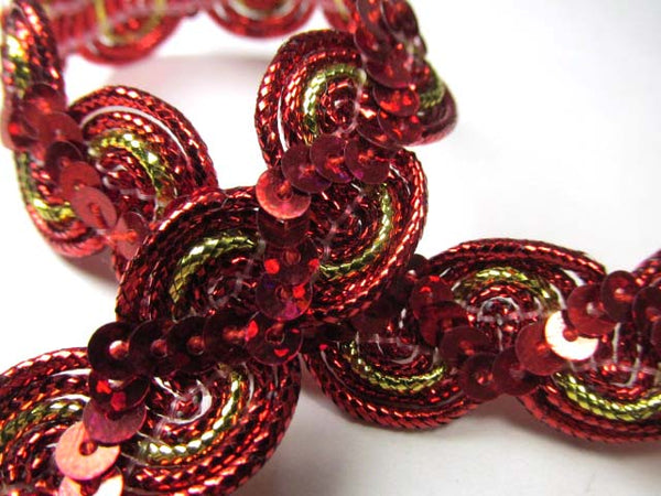 Fuchsia Pink, Purple, Royal Blue, Green, Red and Metallic Gold 5/8 inch Wavy Sequined Trim-Trims-Red/Gold-Odyssey Cache