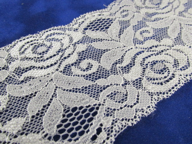 Creamy Ivory 3 Inch Stretchable Polyester Chantilly Lace Trim-Trims-1 Yard 13 inches-Odyssey Cache