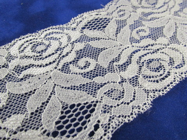 Creamy Ivory 3 Inch Stretchable Polyester Chantilly Lace Trim - Odyssey Cache