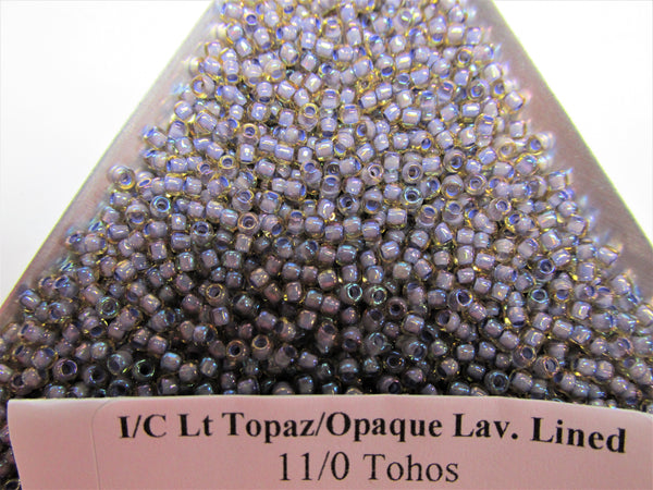 Light Topaz Opaque Lavender Lined 11.0 Toho Glass Seed Beads (10 grams)-Jewelry Beads-Odyssey Cache