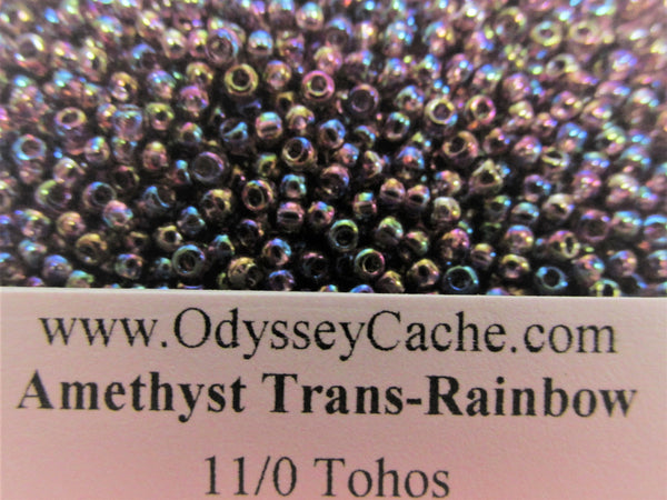 Amethyst Transparent Rainbow 11/0 Toho Glass Seed Beads (10 grams)-Jewelry Beads-Odyssey Cache